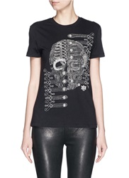 Alexander Mcqueen Military Skull Beaded Embroidery T Shirt Black