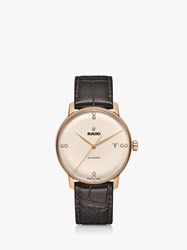 Rado R22861765 'S Coupole Classic Automatic Diamond Date Leather Strap Watch Brown Cream