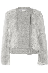 Band Of Outsiders Faux Fur And Wool Blend Biker Jacket Gray
