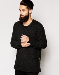Religion Jumper In Longline Textured Knit With Zips Black