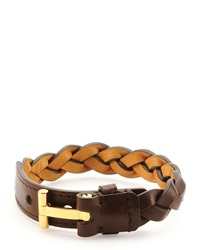 Tom Ford Nashville Men's Braided Leather Bracelet Light Brown