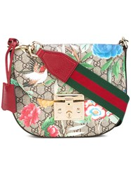 Gucci Tian Print Gg Supreme Bag Women Leather Canvas One Size Brown