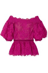 Marchesa Off The Shoulder Velvet Trimmed Corded Lace Peplum Top Fuchsia