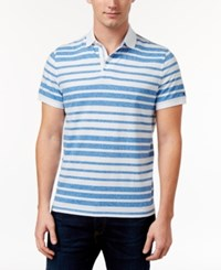 Tommy Hilfiger Men's Tailored Fit Striped Polo Blue Island