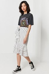 Urban Outfitters Uo Waterfall Ruffle Midi Skirt Neutral Multi