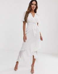 Lipsy Frill Detail Maxi Dress With Metallic Spot In White