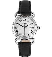 Links Of London Driver Stainless Steel And Leather Round Watch Black