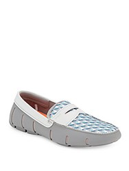 Swims Printed Mesh Penny Loafers Blue