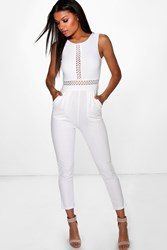Boohoo Crochet Inset Jumpsuit White