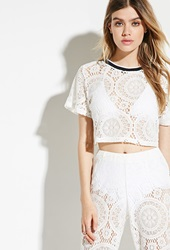 Forever 21 Jaded London Crochet Lace Crop Top Cream
