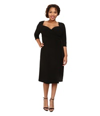 Kiyonna Sweetheart Knit Wrap Dress Black Noir Women's Dress