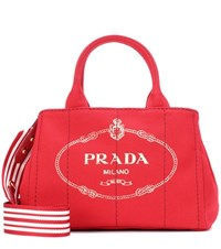 Prada Printed Canvas Tote Red