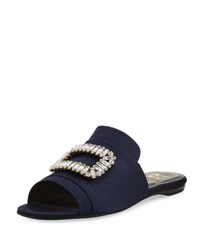 Roger Vivier Strass Buckle Satin Slide Navy