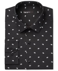 Bar Iii Men's Slim Fit White Elephant Print Dress Shirt Only At Macy's Black