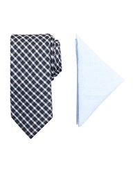 Tallia Orange Barclay Patterned Tie And Pocket Square Set Dark Navy