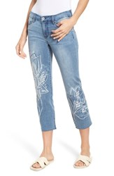 Liverpool Jeans Company Carter Floral Embroidery Crop Jeans Devonshire Wash