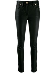 Versace Skinny Leather Trousers Black