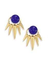 Nikos Koulis Spectrum Lapis And 18K Yellow Gold Ear Jacket And Stud Earrings Set Gold Lapis