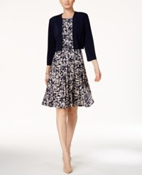 Jessica Howard Printed A Line Dress And Bolero Jacket Navy Beige