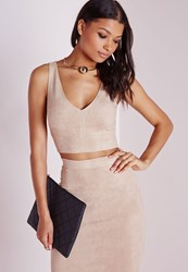 Missguided Suede Plunge Crop Top Taupe