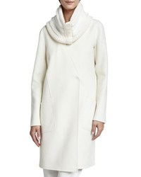 Lafayette 148 New York Cashmere Knit Cloud Fur Collar