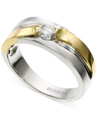 Effy Collection Effy Men's Diamond 1 3 Ct. T.W. Solitaire Ring In 14K White And Yellow Gold