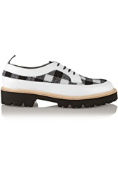 Msgm Plaid Felt And Patent Leather Brogues White