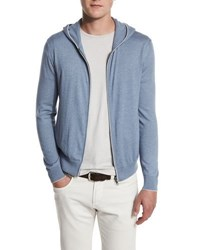 Loro Piana Cashmere And Cotton Front Zip Hoodie Paloma Grey Melna