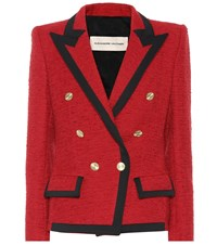 Alexandre Vauthier Double Breasted Tweed Blazer Red