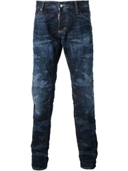 Dsquared2 Camouflage Print Jean Blue