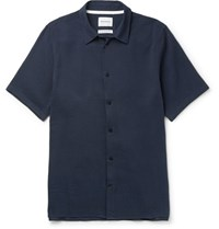 Norse Projects Theo Cotton And Hemp Blend Seersucker Shirt Navy