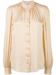 Lanvin Band Collar Blouse Nude Neutrals