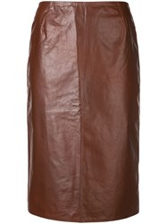 Christian Wijnants Cracked Effect Pencil Skirt Brown