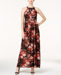 Nine West Floral Print Maxi Dress Persimmon