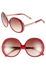 Women's Kensie 'Kyla' 54Mm Sunglasses Red Polka Dot Print