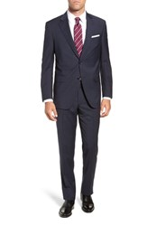 Peter Millar Flynn Classic Fit Plaid Wool Suit Navy