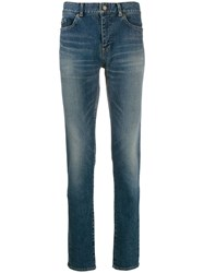 Saint Laurent Faded Slim Jeans Blue