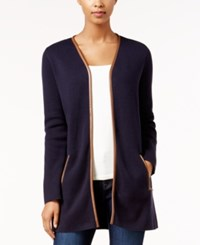 Charter Club Petite Faux Leather Trim Cardigan Only At Macy's Deepest Navy
