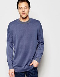Cheap Monday Crew Jumper Combine Knit Cut And Sew Sleeve In Blue Blue