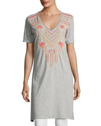 Johnny Was Side Slit Embroidered Jersey Tunic Gray