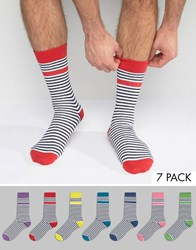 Asos Socks With Stripe And Contrast Heel And Toe 7 Pack Multi