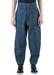 Marius Petrus Wide Leg Selvedge Patch Pocket Jeans Blue