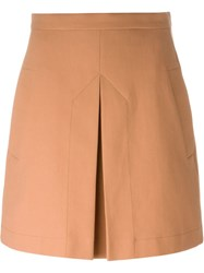 Ca Dric Charlier Inverted Pleat A Line Skirt Brown