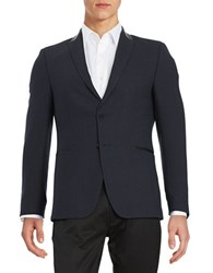 Strellson Faux Leather Trimmed Two Button Jacket Navy