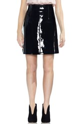 Vince Camuto Faux Patent Leather Skirt Rich Black