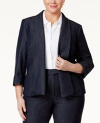 Tahari By Arthur S. Levine Tahari Asl Plus Size Open Front Chambray Blazer Chambray Blue