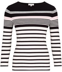Austin Reed Black Grey And Pink Stripe Jersey Top