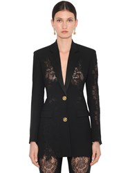Versace Crepe And Lace Blazer Black