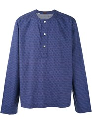 Massimo Piombo Mp All Over Print Henley Shirt Men Cotton M Blue