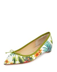 Christian Louboutin Solasofia Hawaii Pointed Toe Red Sole Flat White Floral